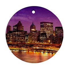 City Night Round Ornament (two Sides)