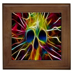 Skulls Multicolor Fractalius Colors Colorful Framed Tiles
