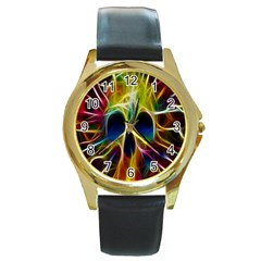 Skulls Multicolor Fractalius Colors Colorful Round Gold Metal Watch