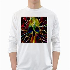 Skulls Multicolor Fractalius Colors Colorful White Long Sleeve T Shirts