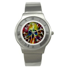 Skulls Multicolor Fractalius Colors Colorful Stainless Steel Watch
