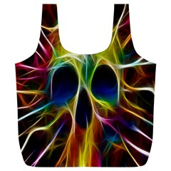 Skulls Multicolor Fractalius Colors Colorful Full Print Recycle Bags (l)
