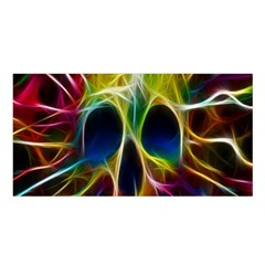 Skulls Multicolor Fractalius Colors Colorful Satin Shawl