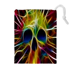 Skulls Multicolor Fractalius Colors Colorful Drawstring Pouches (extra Large)