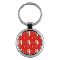 Digital Paper Surfer Couple Key Chains (round)