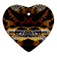 Textures Snake Skin Patterns Ornament (heart)