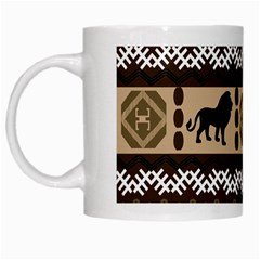 Lion African Vector Pattern White Mugs