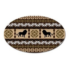 Lion African Vector Pattern Oval Magnet
