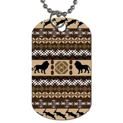 Lion African Vector Pattern Dog Tag (one Side)