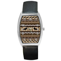 Lion African Vector Pattern Barrel Style Metal Watch