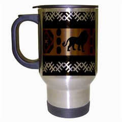 Lion African Vector Pattern Travel Mug (silver Gray)