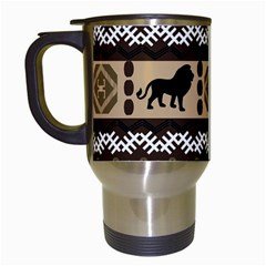 Lion African Vector Pattern Travel Mugs (white)