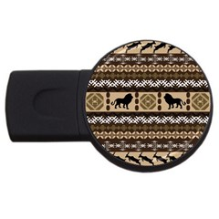 Lion African Vector Pattern Usb Flash Drive Round (4 Gb)