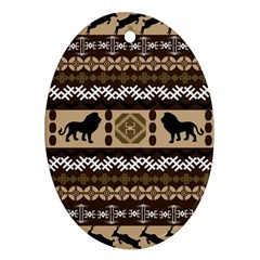 Lion African Vector Pattern Oval Ornament (two Sides)