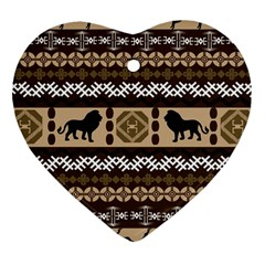 Lion African Vector Pattern Heart Ornament (two Sides)