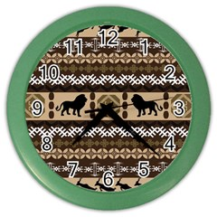 Lion African Vector Pattern Color Wall Clocks