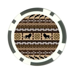 Lion African Vector Pattern Poker Chip Card Guard (10 Pack)