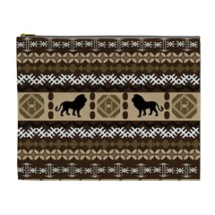 Lion African Vector Pattern Cosmetic Bag (xl)