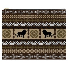 Lion African Vector Pattern Cosmetic Bag (xxxl)