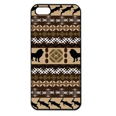 Lion African Vector Pattern Apple Iphone 5 Seamless Case (black)