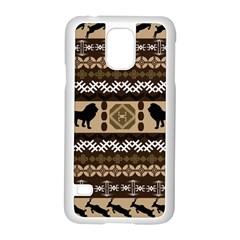 Lion African Vector Pattern Samsung Galaxy S5 Case (white)