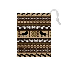 Lion African Vector Pattern Drawstring Pouches (medium)