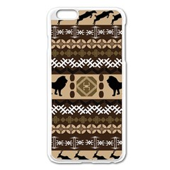 Lion African Vector Pattern Apple Iphone 6 Plus/6s Plus Enamel White Case