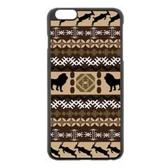 Lion African Vector Pattern Apple Iphone 6 Plus/6s Plus Black Enamel Case