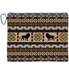 Lion African Vector Pattern Canvas Cosmetic Bag (xxxl)