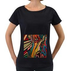 Vivid Colours Women s Loose Fit T Shirt (black)