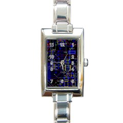 Technology Circuit Board Layout Rectangle Italian Charm Watch