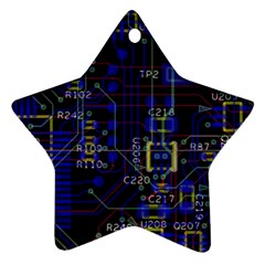 Technology Circuit Board Layout Ornament (star)