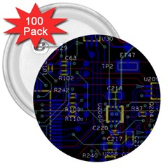 Technology Circuit Board Layout 3  Buttons (100 Pack)