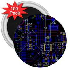 Technology Circuit Board Layout 3  Magnets (100 Pack)