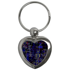 Technology Circuit Board Layout Key Chains (heart)
