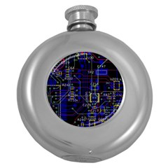 Technology Circuit Board Layout Round Hip Flask (5 Oz)