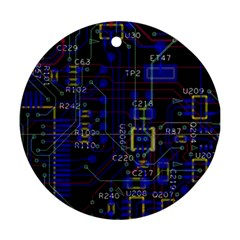 Technology Circuit Board Layout Round Ornament (two Sides)