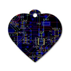 Technology Circuit Board Layout Dog Tag Heart (two Sides)