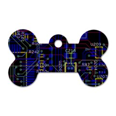 Technology Circuit Board Layout Dog Tag Bone (two Sides)