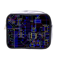 Technology Circuit Board Layout Mini Toiletries Bags