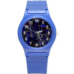 Technology Circuit Board Layout Round Plastic Sport Watch (s)