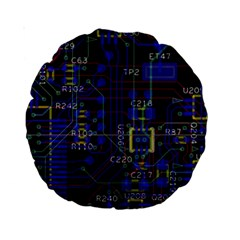 Technology Circuit Board Layout Standard 15  Premium Round Cushions