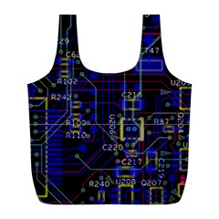 Technology Circuit Board Layout Full Print Recycle Bags (l)