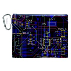 Technology Circuit Board Layout Canvas Cosmetic Bag (xxl)