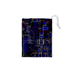 Technology Circuit Board Layout Drawstring Pouches (xs)