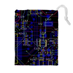 Technology Circuit Board Layout Drawstring Pouches (extra Large)