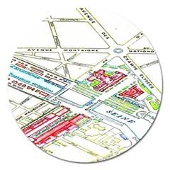 Paris Map Magnet 5  (round)