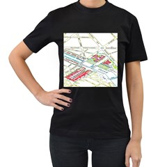 Paris Map Women s T Shirt (black) (two Sided)