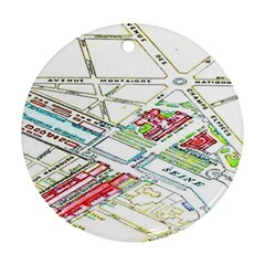 Paris Map Round Ornament (two Sides)