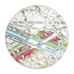 Paris Map Round Filigree Ornament (two Sides)